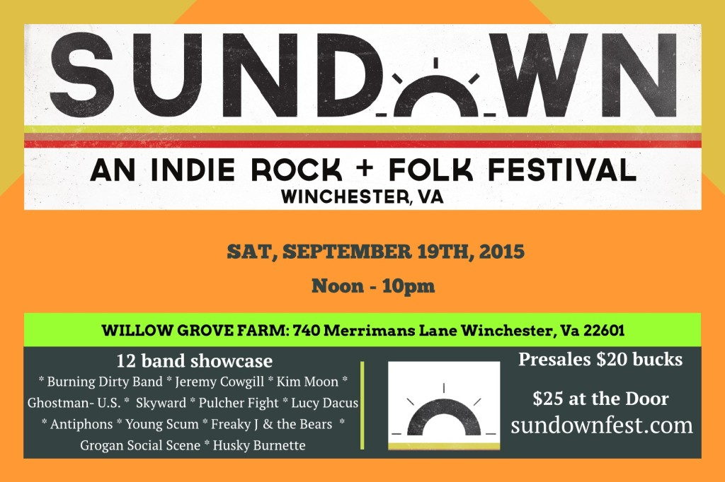Sundown indie rock and folk festival. an ALL AGES SHOW. Kids 12 and under are FREE! Rain or Shine.